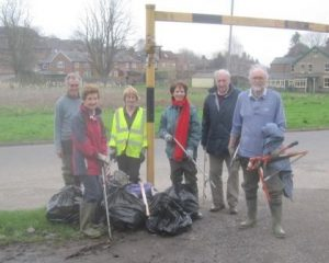 The team with bags and tools ready to clear up Chesham